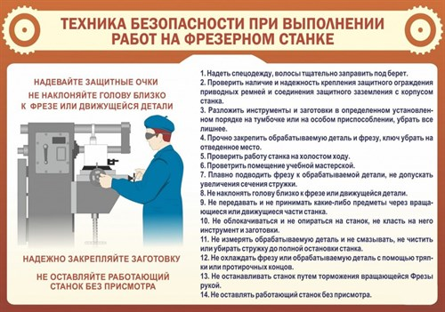 "Стенд  ""Техника безопасности при выполнении работ на фрезерном станке"", 100х70 см - фото 122733"