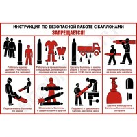 """Стенд """"Инструкция по работе с газовыми баллонами"""", 90х60 см"""