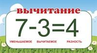 """Табличка """"Математические действия. Вычитание."""", 45х25 см"""