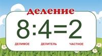 """Табличка """"Математические действия. Деление."""", 45х25 см"""