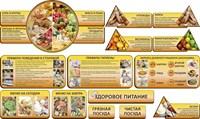 """Комплект стендов для столовой """"Здоровое питание"""", 310х175 см, 5 карманов, резной, из 14 частей"""