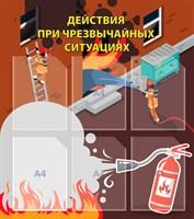 """Стенд """"Действия при ЧС"""", 80х90 см, 6 карманов"""