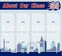 "Стенд ""About our class"", 100х90 см, 8 карманов"